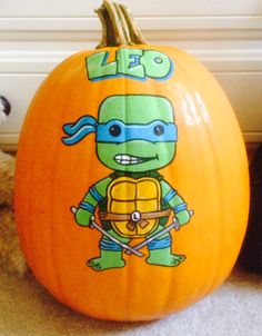 Leonardo Mutant Ninja Turtle Baby painted pumpkin