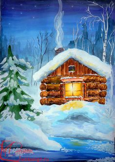 Easy Paintings, Beautiful Paintings, Landscape Paintings, Gouache Painting, Painting & Drawing, Watercolor Paintings, Christmas Paintings On Canvas, Christmas Canvas, Winter Drawings
