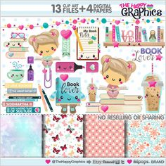 Book Clipart, Book Graphics, COMMERCIAL USE, Kawaii Clipart, Planner Accessories, Book Lover, Girl Reading, Read Clipart, Educational, Study