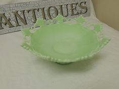 Westmoreland Jadeite Glass Ring and Pedestal Compote Bowl