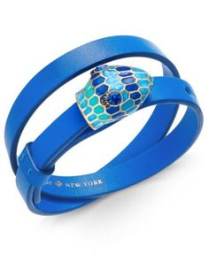 kate spade new york Gold-Tone Crystal and Enamel Snake Head Leather Wrap Bracelet   macys.com