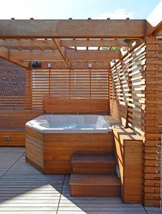 Hot Tub Pergola, Hot Tub Backyard, Hot Tub Garden, Modern Hot Tubs, Modern Deck, Modern Pergola, Hot Tub Privacy, Hot Tub Surround, Hot Tub Time Machine