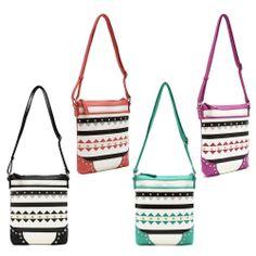 Geometric Print Studded Design Cross Body Messenger Bag #GetEverythingElse #MessengerCrossBody