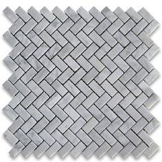 Carrara White 5/8x1-1/4 Herringbone Mosaic Tile Polished