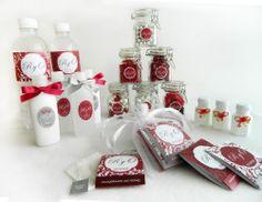 Boda. Aguas, Cremas, Antibacteriales, Burbujas para la misa, Tes y Frascos con dulces varios para la mesa de boda