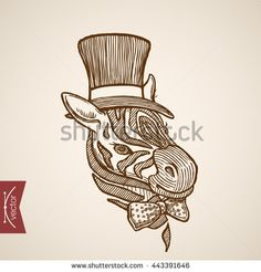 Wild animal Zebra head hipster style human clothes accessory cylinder hat bow polka dots tie. Engraving style pen pencil crosshatch hatching paper painting retro vintage vector lineart illustration. - stock vector