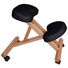 "Compact 3"" Black Wood Portable Massage Chair Adjustable Stool"