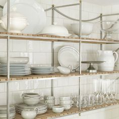 love these open kitchen shelves- great clean mix of metal and wood