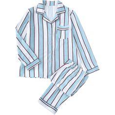 Striped Pajama Set ($29) ❤ liked on Polyvore featuring intimates, sleepwear, pajamas, striped pjs, striped pajama set, striped pyjamas and striped pajamas