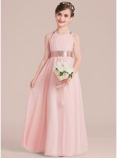 JJsHouse A-Line/Princess Scoop Neck Floor-Length Zipper Up Regular Straps Sleeveless Pearl Pink Chiffon Junior Bridesmaid Dress. Party Fashion, Girl Fashion, Fashion Dresses, Princess Wedding Dresses, Wedding Party Dresses, Kids Bridesmaid Dress, Girls Dresses, Flower Girl Dresses, Flower Girls