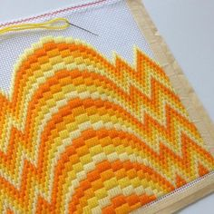 Bargello is a sixties- and seventies-era style of needlepoint marked by repeating patterns, zig-zaggy designs, and bold color choices. While needlepoint has a Motifs Bargello, Broderie Bargello, Bargello Patterns, Bargello Needlepoint, Bargello Quilts, Needlepoint Stitches, Needlepoint Pillows, Needlepoint Canvases, Plastic Canvas Stitches