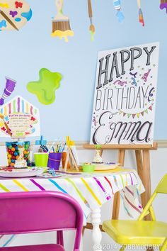 Create the perfect birthday bash with colorful art-themed party decor and favors.