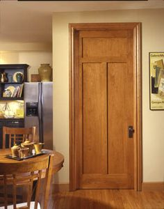 The use of cherry adds a warm tone to this craftsman kitchen. in cherry with square stick (SS) sticking and flat (C) panel. Craftsman Style Doors, Craftsman Kitchen, Modern Craftsman, Traditional Interior Doors, Arts And Crafts Interiors, Door Design Interior, Craftsman Bungalows, Decoration, Home Crafts