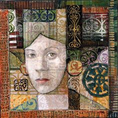 Twelve by Twelve collection by multimedia artist Anne Bagby: «Layers of glaze over layers of pattern over collage and stitching: pattern, color, shape, texture and the human face.»
