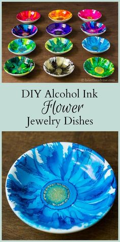Alcohol ink jewelry dishes are easy to create, and make beautiful handmade gifts. Caution: you may become obsessed with this creative art. #EverydayArtsandCrafts