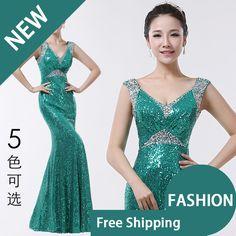 Free shipping 2014 V-neck diamond decoration double-shoulder fish tail slim long design evening dress costume yuwei4 US $70.00