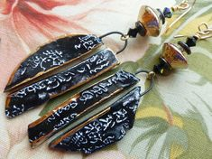 Kanji Boards, Contemporary Asian Vibe Boho Ceramic Earrings, One Of A Kind Artisan Made, JosephineBeads, killerbeedz1. Northernblooms