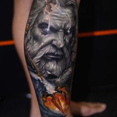 What does poseidon tattoo mean? We have poseidon tattoo ideas, designs, symbolism and we explain the meaning behind the tattoo. Zeus Tattoo, Poseidon Tattoo, Orion Tattoo, Hades Tattoo, Leg Tattoo Men, Leg Tattoos, Black Tattoos, Body Art Tattoos, Sleeve Tattoos