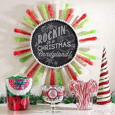 Make a *rockin'* DIY candy wreath! Click to see how we made it and feast your eyes on more mouthwatering Christmas decorating ideas.