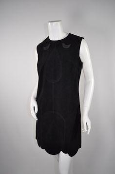 ANNA SUI Black Suede Minidress sz6