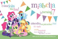 My Little Pony Theme - Birthday Invitation- DIY Printable Invitation - By Cici… My Little Pony Birthday Party, Rainbow Birthday Party, 4th Birthday Parties, 5th Birthday, Printable Invitations, Birthday Invitations, Invitaciones My Little Pony, Anniversaire My Little Pony, Birthday Painting