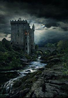 Fantasy Montage of Blarney Castle, Ireland Fantasy Places, Fantasy World, Dark Fantasy, Fantasy Art, Dark Castle, Castle Painting, Famous Castles, Fantasy Castle, Wow Art