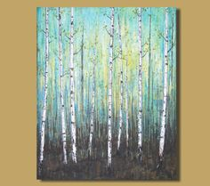 Painting Title: Song of the Forest    This is an original acrylic abstract birch tree forest painting. This landscape painting has loads of