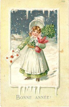 Vintage Bonne Annee Postcard Happy New by sharonfostervintage, $3.50