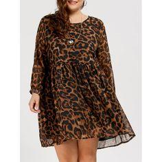 $17.08--3X--BROWN LEOPARD---Chiffon Plus Size Long Sleeve Leopard Printed Smock Dress - Brown 3xl