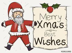 Cute Santa Holding a Greeting Christmas Scroll, Vector Illustration - Buy this stock vector and explore similar vectors at Adobe Stock Christmas Illustration, Christmas Greetings, Merry Christmas, Presents, Santa, Cute, Fictional Characters, Image, Merry Little Christmas