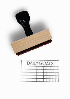 Rubber Stamp w/Wood Mount & Handle by Creatiate ▴ DESIGN ▴ Daily Goals Habit Tracker Stamp One Week, Five Goals ▴ SIZE ▴ Approx 1.5 x 2.5 (3.8 cm x 5 cm) ▴ DETAILS ▴ Designed with space for 5 habits to track for 7 days / 1 week. --------------- For more from this Minimalist Planner