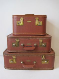 Vintage Luggage Set Brown Vinyl Nesting Three Piece Suitcase Set Hard Case J.C. Higgins