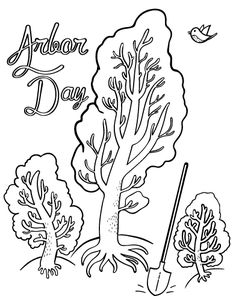 Printable Arbor Day coloring page. Free PDF download at http://coloringcafe.com/coloring-pages/arbor-day/