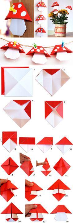 free tutorial easy origami toadstools mushrooms create your own fairy village Origami Rhino, Gato Origami, Diy Origami, Origami Tutorial, Simple Origami, Dollar Origami, Oragami, Origami Instructions, Envelope Origami
