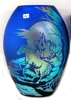 Fenton Favrene Glass Vase with Wild Horse Design