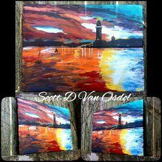 LIGHTHOUSE Sunset OCEAN ART By Scott D Van Osdol by MySalvagedPast