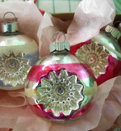 12 vintage glass Christmas ornaments, classic Shiny Brite indents.