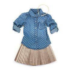 df943774c88 Blue and Blu Chambray button down with Mayoral metallic pleated Skirt. The  perfect girly