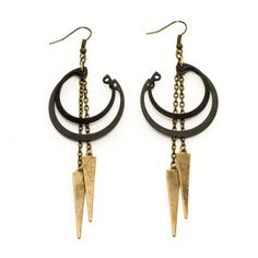 Stacked Ring Earrings Black, $32, now featured on Fab. Crow Jane Jewelry Dichotomous Handmade Accessories