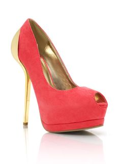 metal accent peep-toe heels $37.00