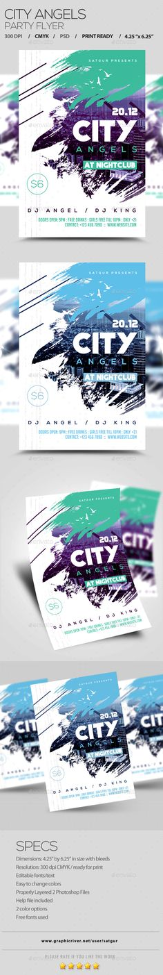 City Angels Party Flyer Template PSD #design Download: http://graphicriver.net/item/city-angels-party-flyer/13956272?ref=ksioks
