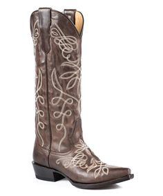 Another great find on #zulily! Brown Burnished Embroidered Leather Cowboy Boot #zulilyfinds