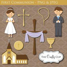 SALE First Communion Clipart Set por TheCraftyClip en Etsy