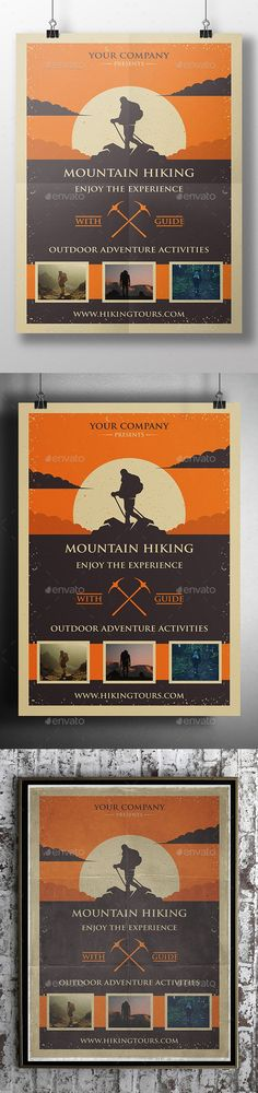 """adventure, aggressive, backpacking, camp poster, camping, climbing, expeditions, explorer, extreme sports, hiking, hill climbing, horseback riding, hunting, lifestyle, mountain, Mountain Bikes, mountain sports, mountaineering, nature, nordic walking, orienteering, outdoor, rock climbing, sports, survival, Trail Running, trails, trekking, vintage, wilderness - 8.3×11.7"""" print dimension, with Bleed and Guides. - Layered Psd file. - CMYK, Print ready. - You can change text and color..."""