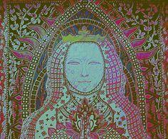 Eliška Přemyslovna *Královna česká 1292 -1330, Autorská kresba 6/7/2016 Johana Hájková upraveno Mona Lisa, Tapestry, Artwork, Detail, Silver, Gold, Stars, Home Decor, Paper Board
