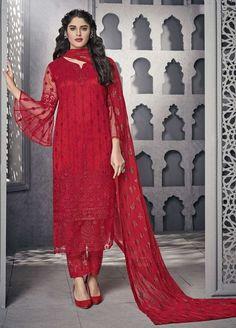 Buy online attractive red party wear straight cut pant style suit Red Salwar Suit, Salwar Suits Party Wear, Anarkali Suits, Punjabi Suits, Designer Wear, Designer Dresses, Designer Salwar Suits, Designer Anarkali, Straight Cut Pants