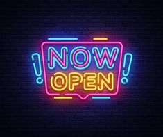 Now Open Sign, Open Signs, We Are Open Sign, Logo Online Shop, Neon Words, Neon Wallpaper, Logo Design, Graphic Design, Custom Neon Signs