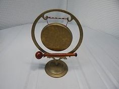 Vintage! Brass Altar Gong/Striker Etched Brass Ornate