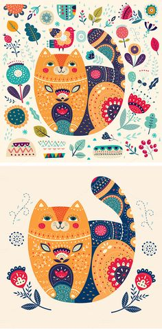 Flowers & Cat