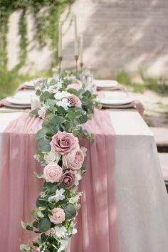 Rose Garland, Greenery Garland, Flower Garlands, Eucalyptus Garland, Eucalyptus Leaves, Dusty Rose Wedding, Pink And Burgundy Wedding, Cream Roses, Flower Arrangements